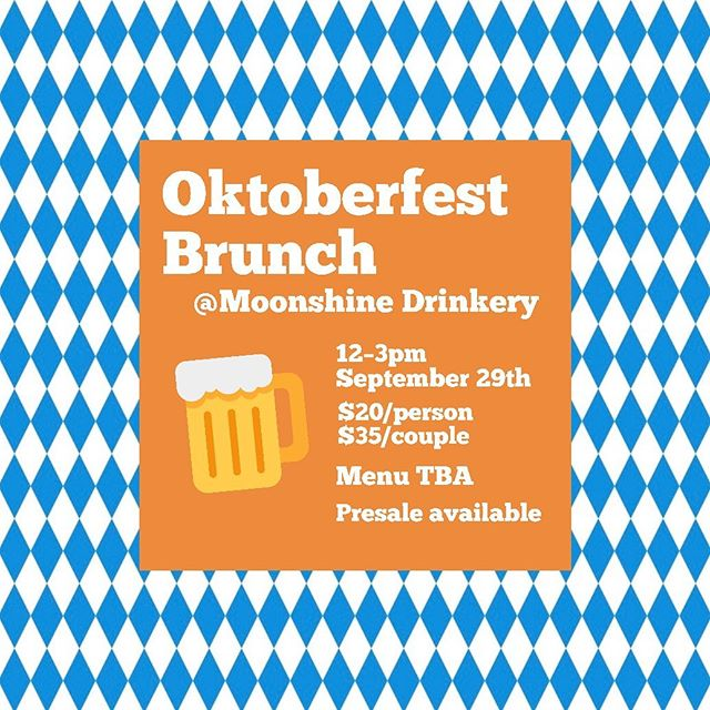 It's going down this Sunday. Come wind down your Oktoberfest weekend with Cicada at Moonshine Drinkery. 🍺 🥨  @mdrinkery