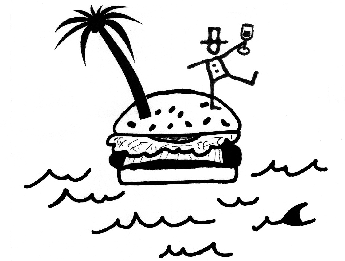 """This artwork depicts hand-drawn cheeseburger, sprouting a palm tree and a """"Miltonaire"""" floating across the sea"""