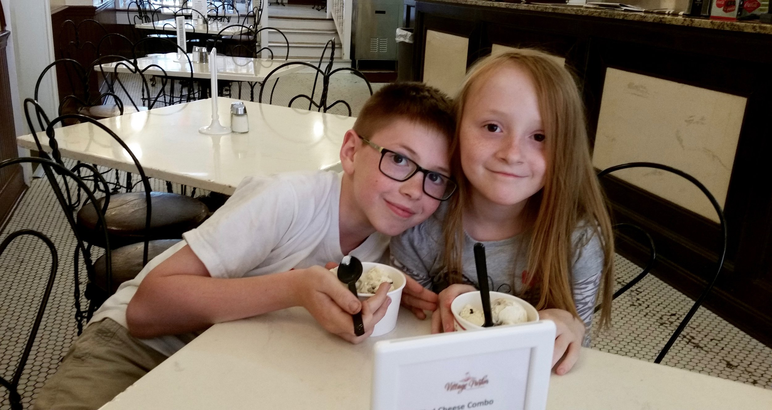 Kiddos at the Village Ice Cream Parlor
