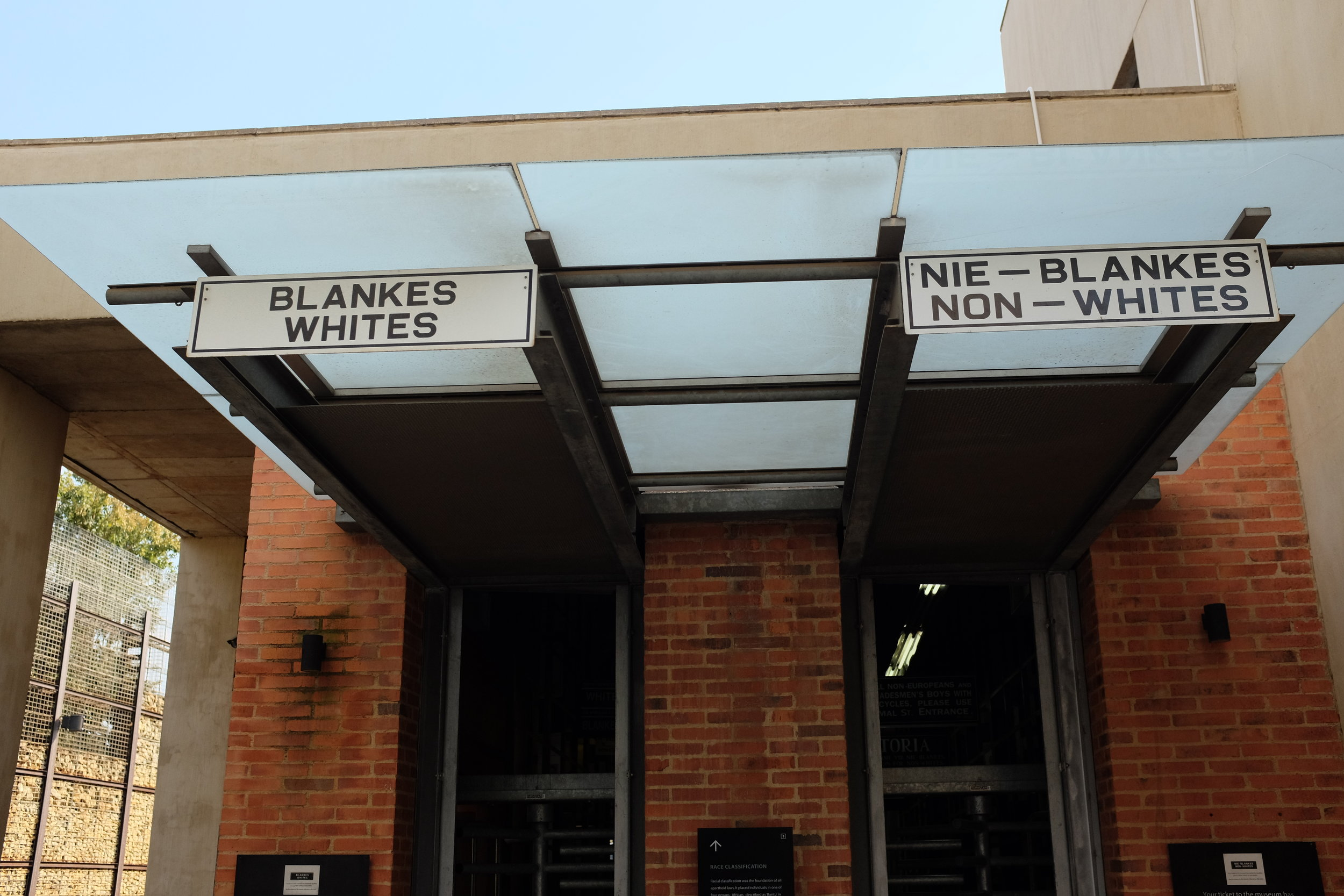 "Only spent a day in Johannesburg, just enough time to take a quick tour of the city and go to the excellent Apartheid Museum. At the ticket booth, you are issued a tag printed with either ""White"" or ""Non-Whites."" Enter the corresponding door, and you get a glimpse of the different experiences awaiting various groups in South Africa."