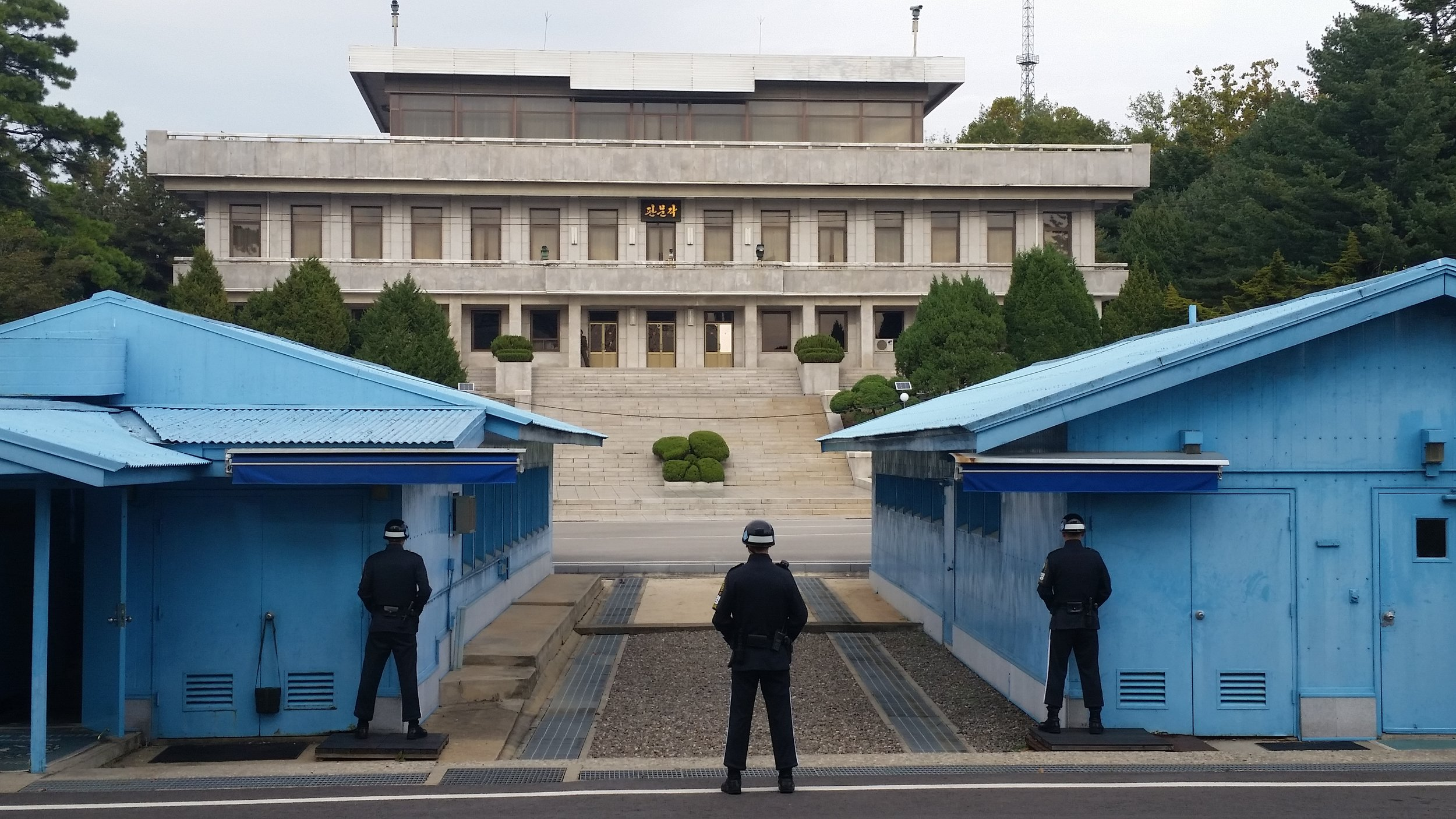 Conference buildings straddle the demarcation line between North and South Korea.