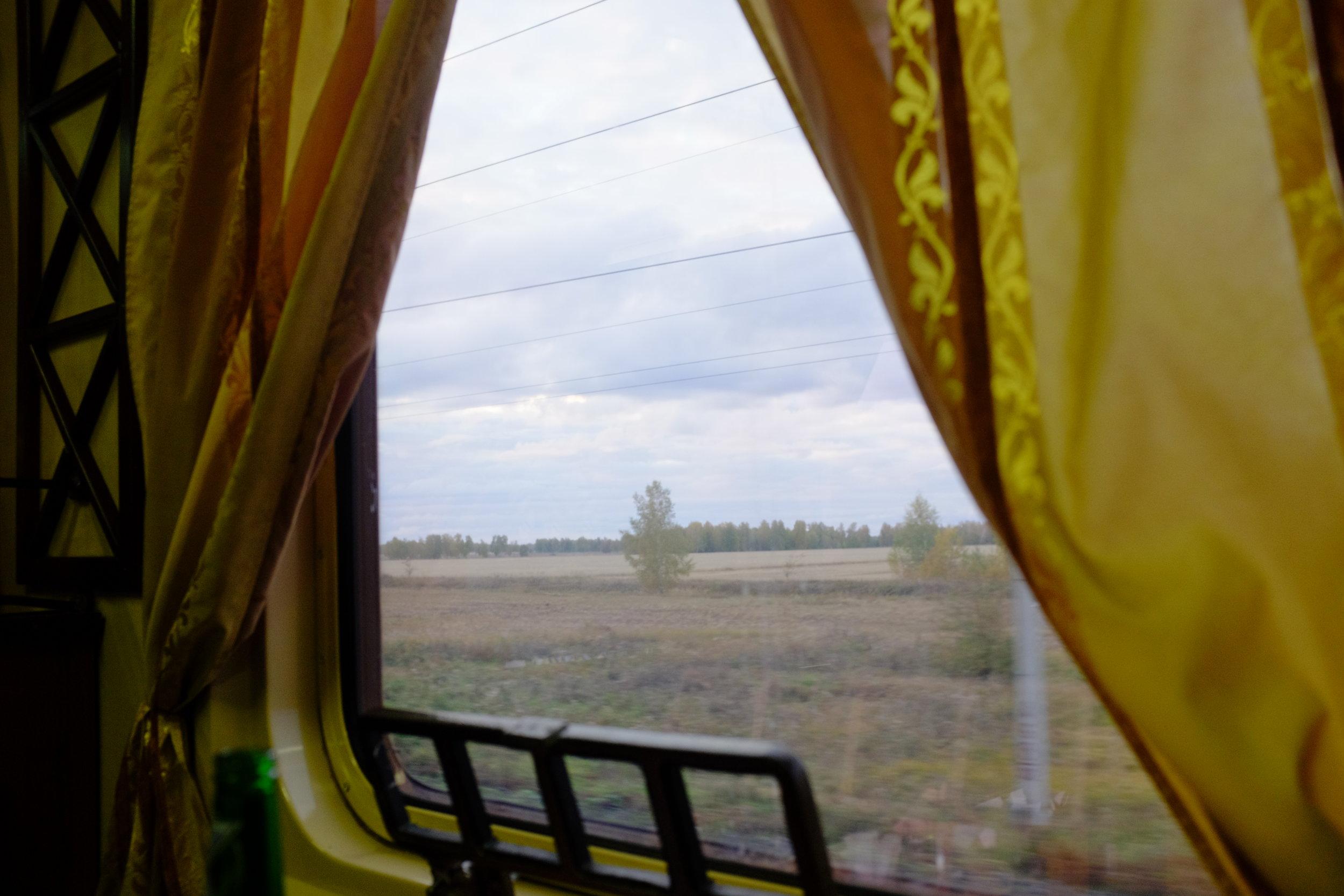 outside russian dining car window
