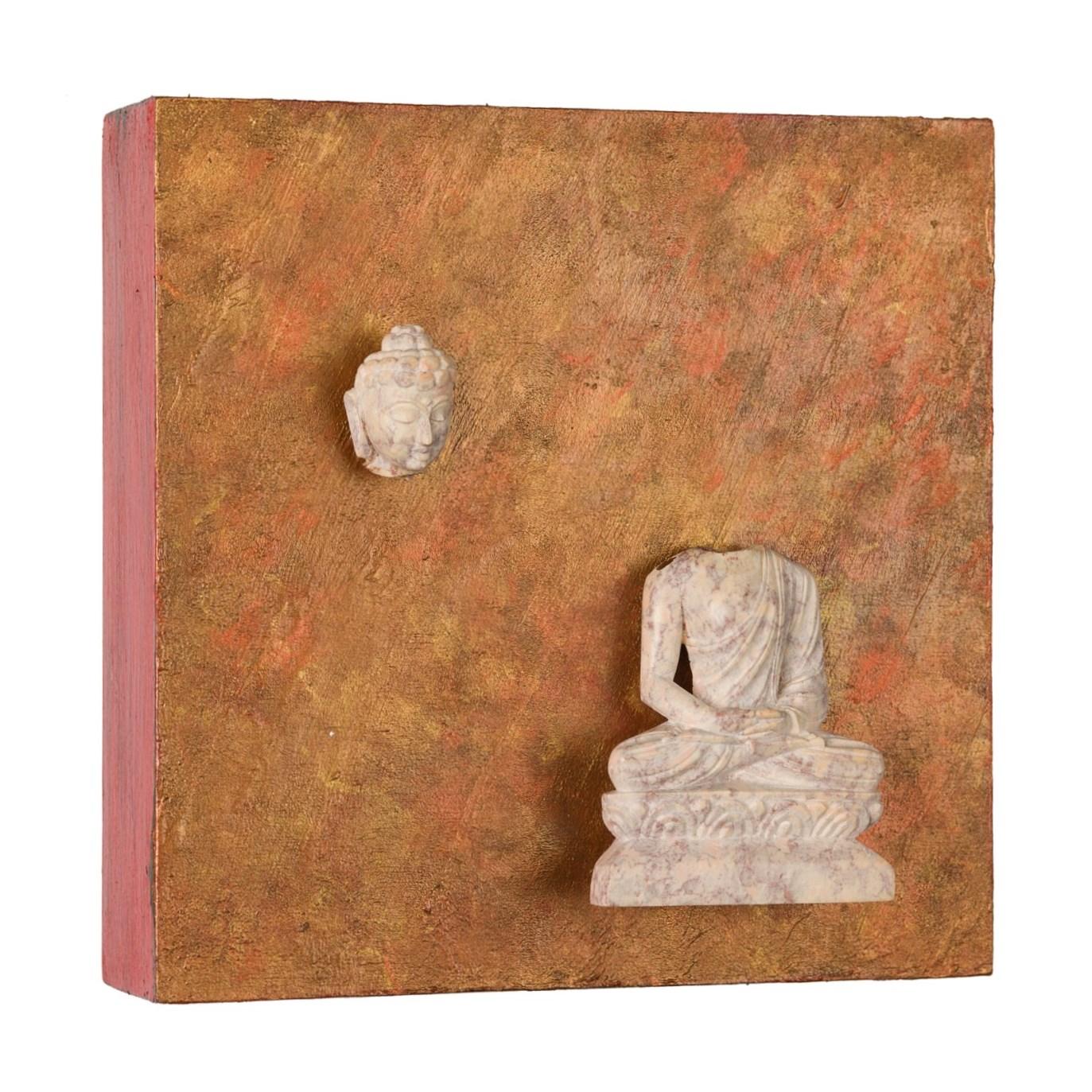 "Buddha: The Art of Detachment, 2016   acrylic, mixed media on cradled wood panel, 6""x6"" SOLD"