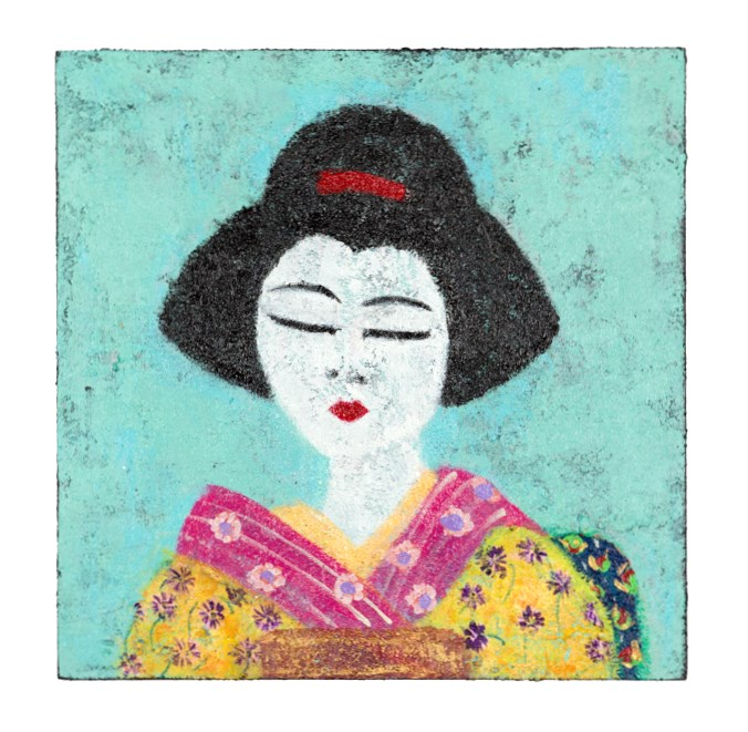 "Geisha in Yellow Kimono,  2015  8""x8"" Acrylic, Molding Paste on Cradled Wood Panel $130"