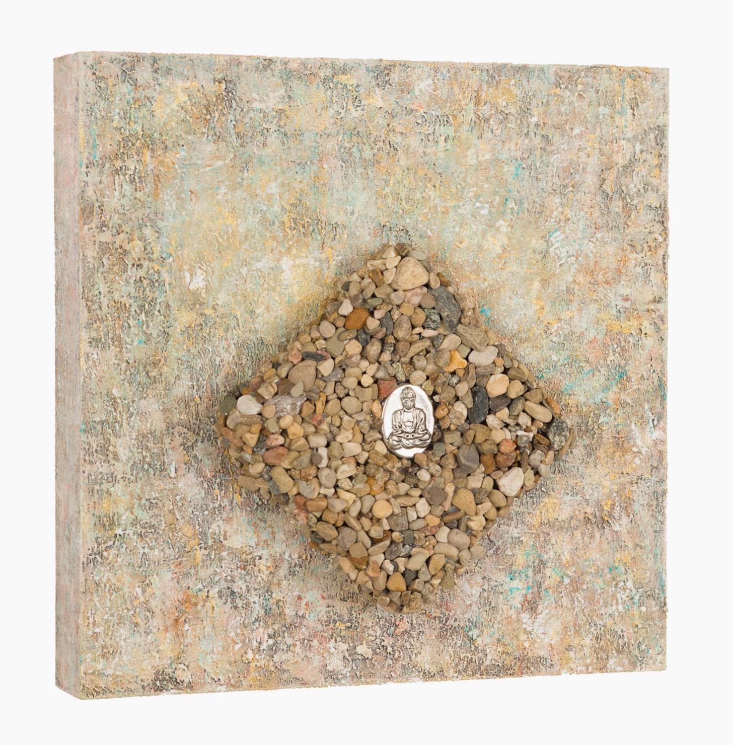 "Centered, Grounded, Breathe, 2016   acrylic, mixed media on cradled wood panel, 10""x10"" © Marilyn Grad"