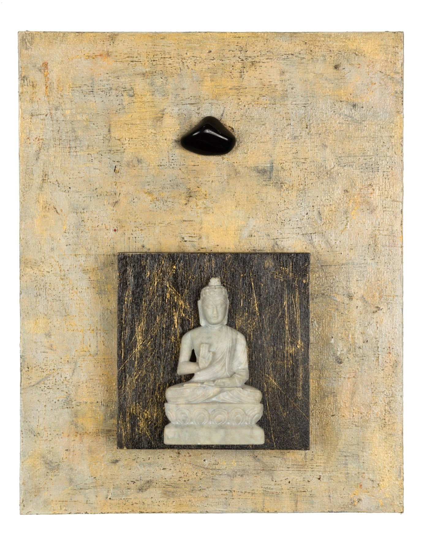 """Enough, No More Negativity, 2015 Buddha with Obsidian   acrylic, mixed media, on cradled wood panels, 8""""x10"""" Obsidian is a very protective stone, forming a shield against negativity and negative energy. It also is grounding and healing. SOLD"""