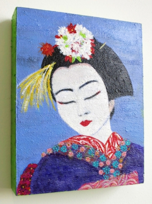 """Geisha: Demure and Yet So Wise""  acrylic on 8"" x 10"" cradled wood panel"