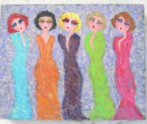 "Whim(sical): Glam Girls: 2017 Acrylic on 10"" x 8"" cradled wood panel"