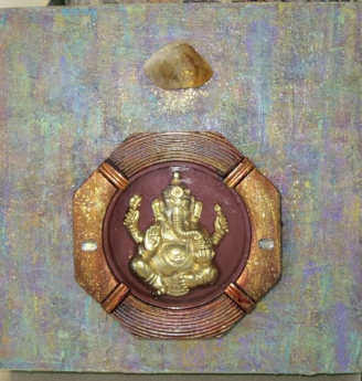 "Deities: Ganesha with Citrine, 2017 Acyrlic, recycled Ganesha, glitter, on 8"" x 8"" cradled wood panel"