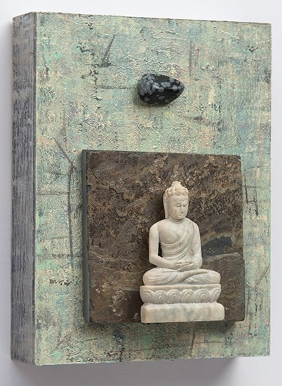 """No Longer Disturbed by Distracting Influences"" Buddha with Snowflake Obsidian © Marilyn Grad 2017 Photography by Steve Greiner Photography"