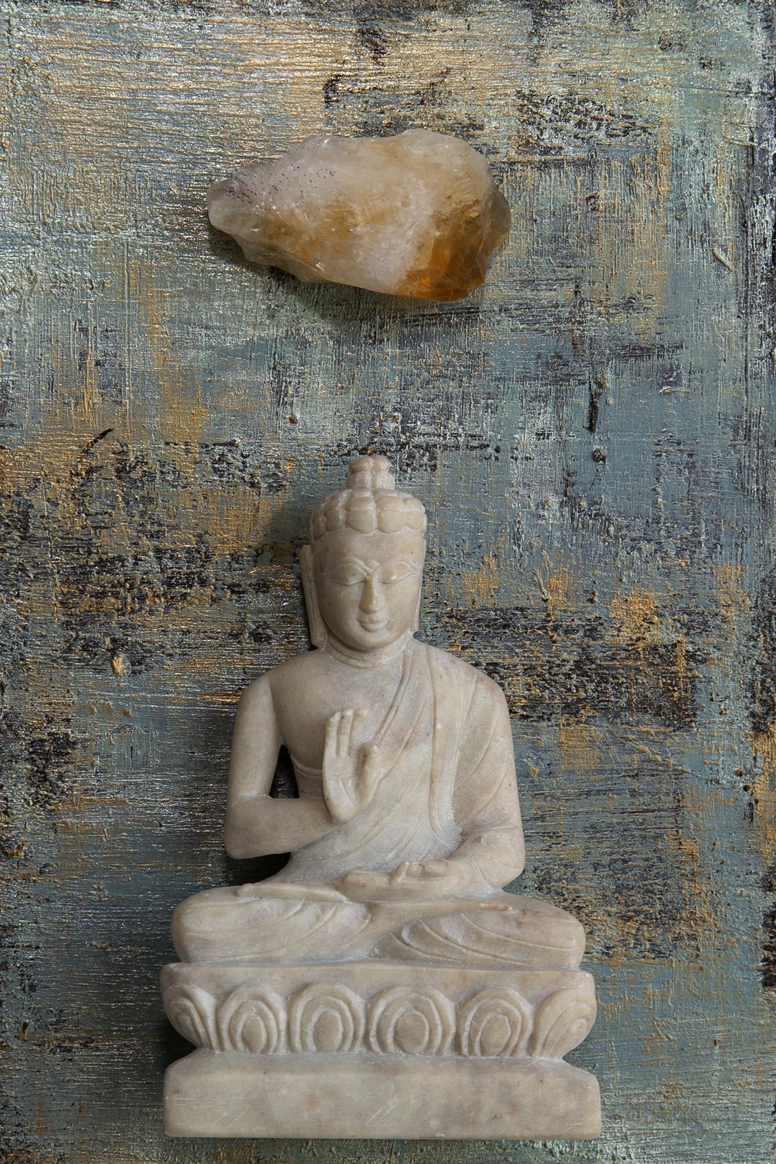 """I am Peaceful. I am Calm"" Buddha with Citrine."