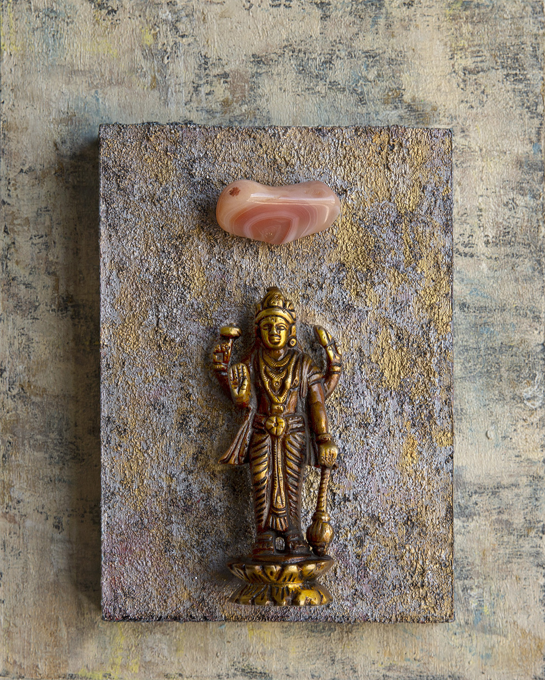 """Good Fortune, Positive Choices,""  Lakshmi with Carnelian, 2018 Acrylic, mixed media on cradled wood panels , 8"" x 10"" x 1.5""  Lakshmi is the HIndu deity of beauty, luxury and wealth, both material and  spiritual. Carnelian motivates for success, stimulates creativity, and helps trusting yourself and your perceptions.  © Marilyn Grad 2018"