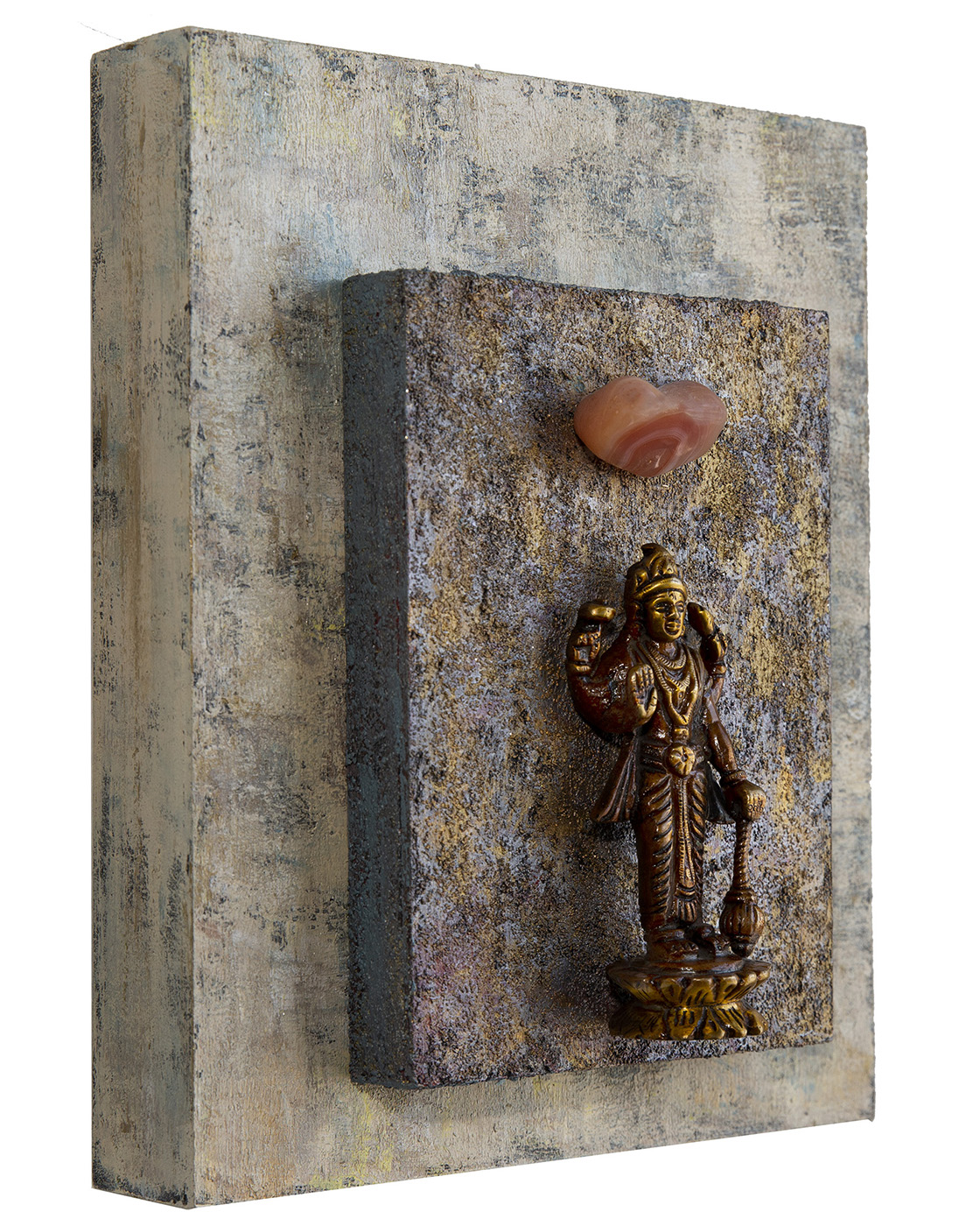 """Good Fortune, Positive Choices, Lakshmi with Carnelian, 2018 Mixed Media on cradled wood panels, 8""x10""x1.5"" © Marilyn Grad 2018"