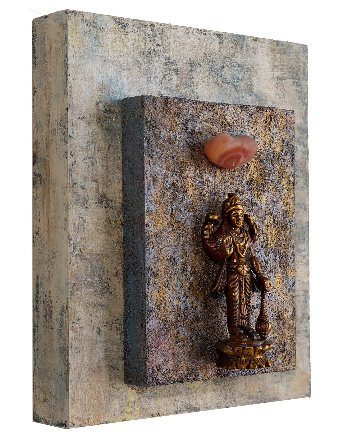 """Good Fortune, Positive Choices,""  Lakshmi with Carnelian, 2018 Acrylic, mixed media on cradled wood panels , 8""x10""x1.5""  Lakshmi is the HIndu deity of beauty, luxury and wealth, both material and  spiritual. Carnelian motivates for success, stimulates creativity, and helps trusting yourself and your perceptions.  © Marilyn Grad 2018"