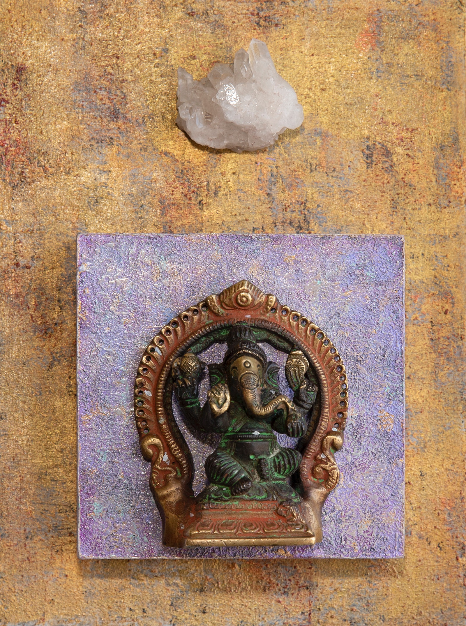 "Ganesh with Clear Quartz, Acrylic, Mixed Media, 6""x6""x1.5"" cradled wood panel, © Marilyn Grad 2018"