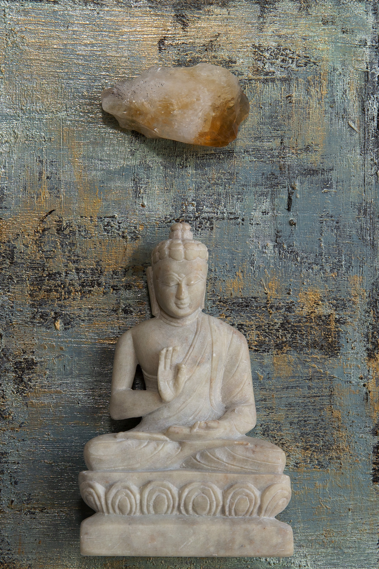 """I am Calm. I am Peaceful"". Buddha with Citrine. Acrylic, mixed media on 4""x6""x.5"" cradled wood panel © Marilyn Grad 2018"