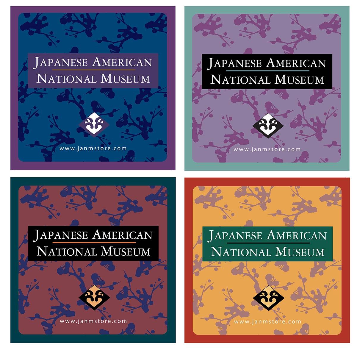 Four seasonal bag stickers for JANM museum store.