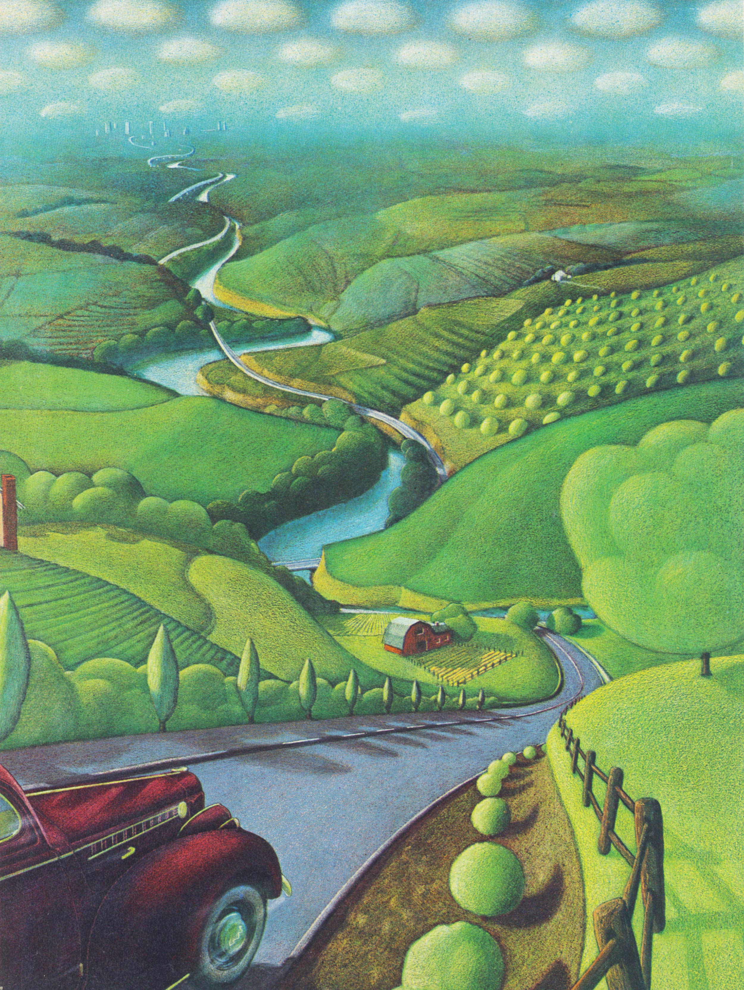 """illustration: """" The Rise of the Motorway,  """"  from a history of the road series,   Westways   / 1970s"""