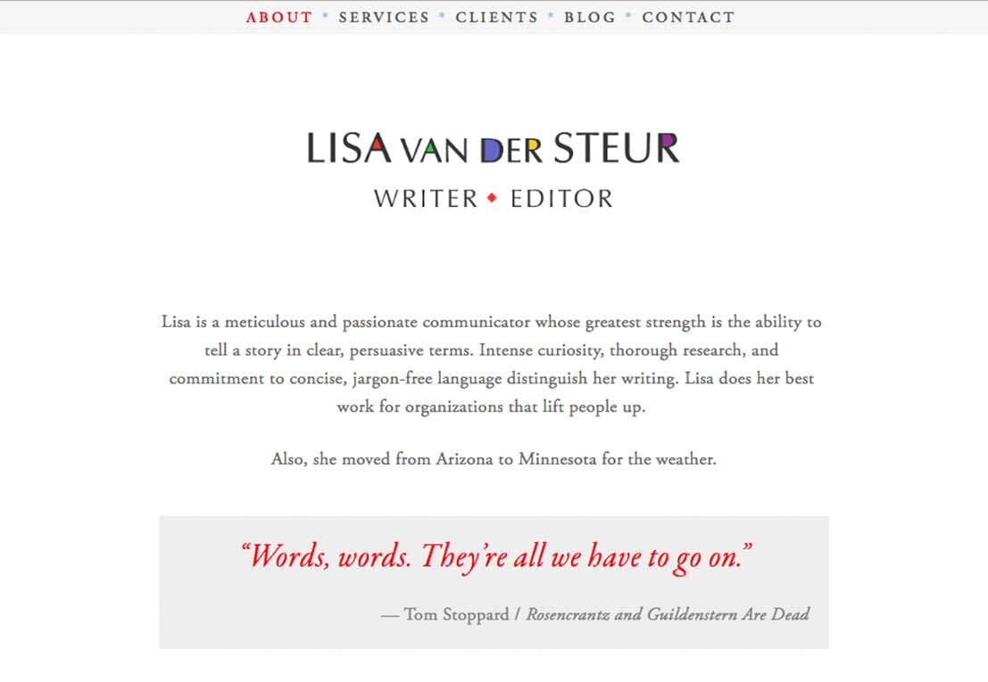 LISA VAN DER STEUR, WRITER / EDITOR
