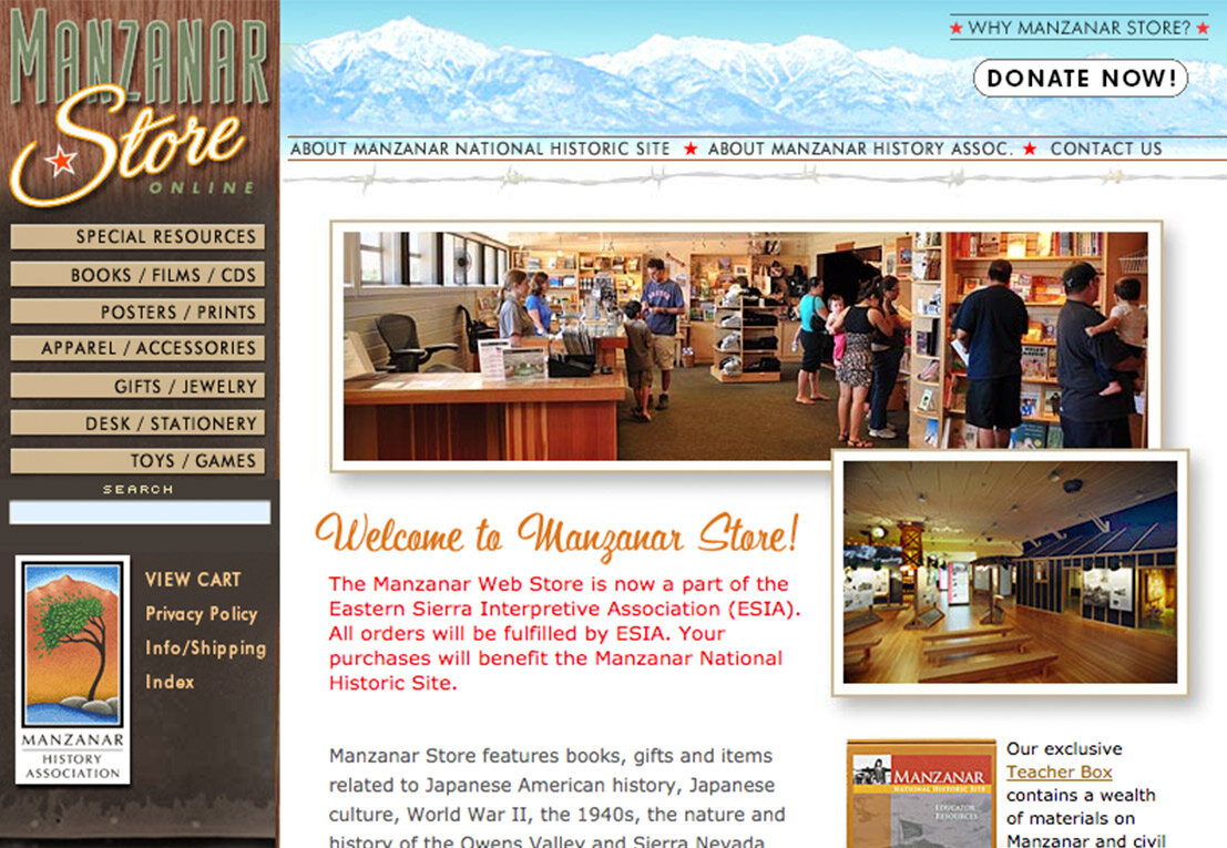 Manzanar store , a legacy yahoo store thats getting long in the tooth. live but now being maintained by others, SO DON'T LOOK AT ME.