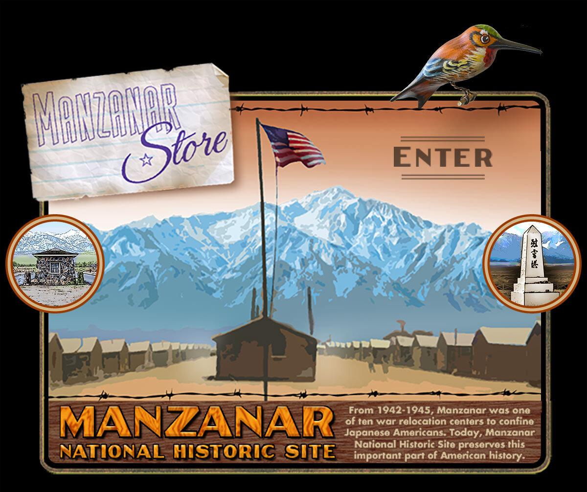 Manzanar Store , c.2009, which integrates illustration and design.