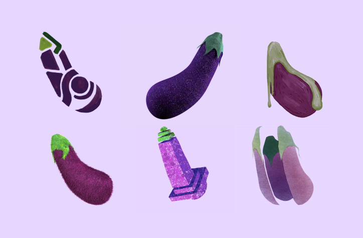 """Anna Ginsburg    """"Spin the Aub""""   A nod to everyone's favourite saucy emoji, the humble eggplant. It's a giant spinning aubergine in nine different forms: equal parts ridiculous and stunning. UK based artist Anna Ginsburg and collaborator Freddy Taylor created the project to push Anna's hybrid style of animation to its limits."""