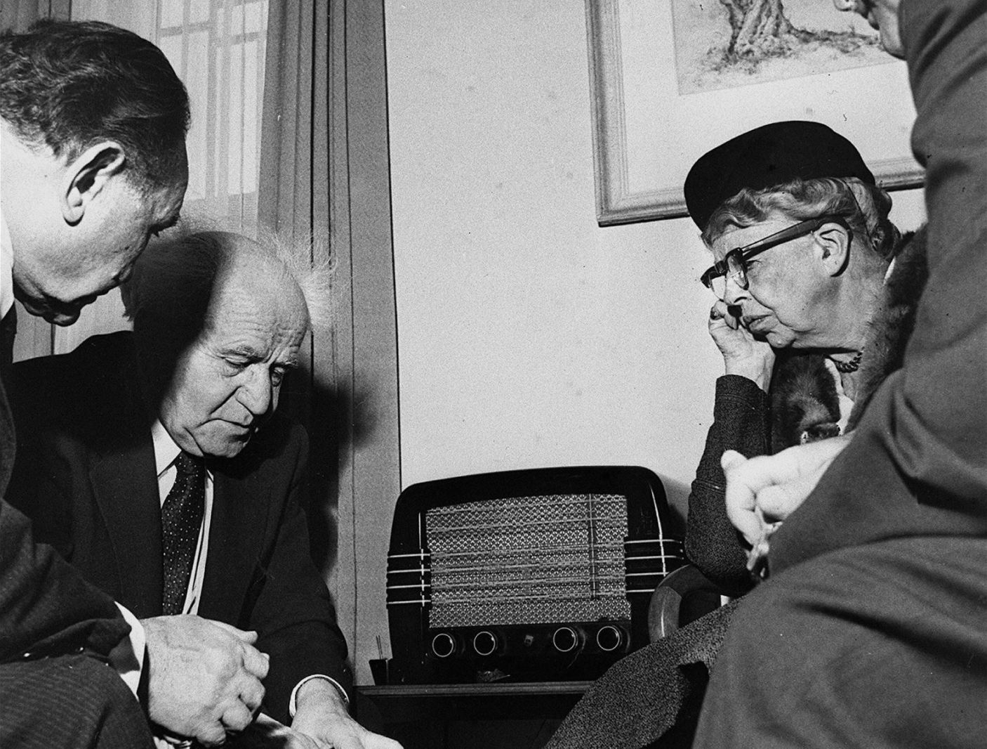 Ben Gurion and Eleanor Roosevelt at his home in Tel Aviv, 1952
