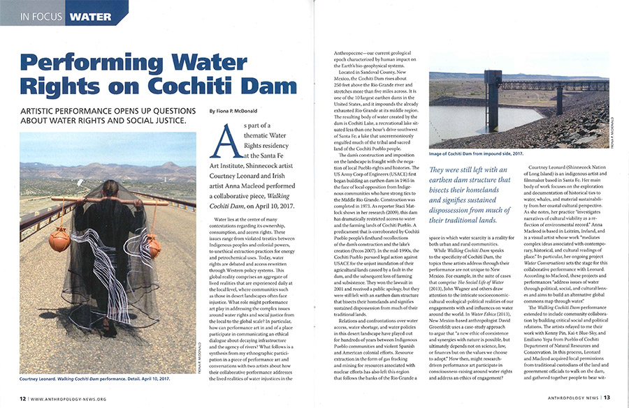 Performing Water Rights on Cochiti Dam: Artistic Performance Opens Up Questions About Water Rights and Social Justice   By Fiona P. McDonald