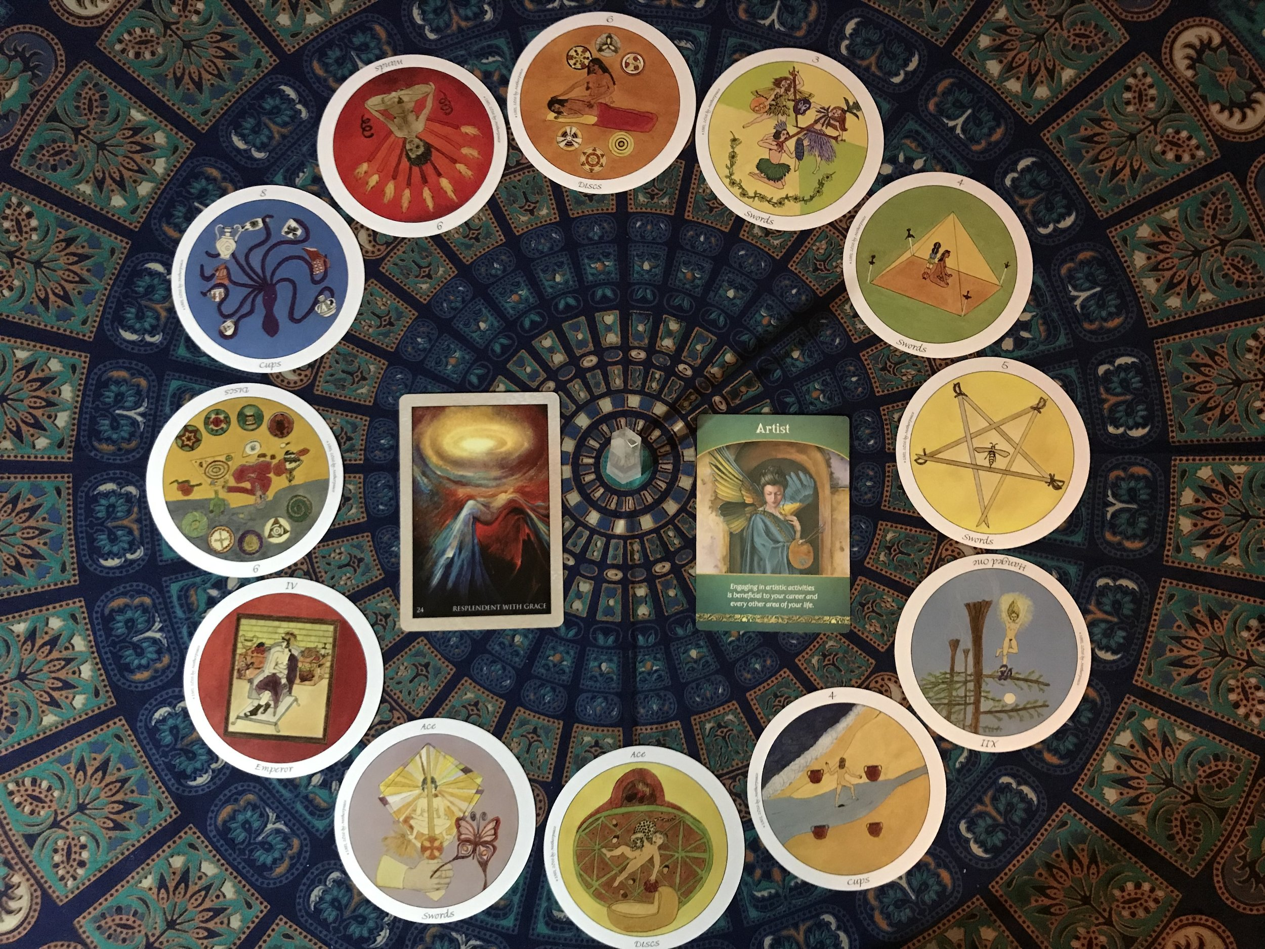 Mother Peace Tarot Deck : 3 of Swords~4 of Swords~5 of Swords~ 12 The Hanged One Rvsd~4 of Cups~Ace of Discs~Ace of Swords~ 4 The Emperor~ 9 of Discs Rvsd ~ 8 of Cups~ 9 of Wands Rvsd~ 6 of Discs  Rumi Oracle Card : 24 Resplendent with Grace  Life Purpose Card : Artist
