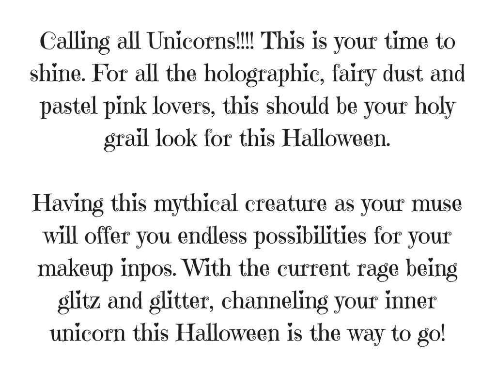 Unicorn Halloween Makeup Text