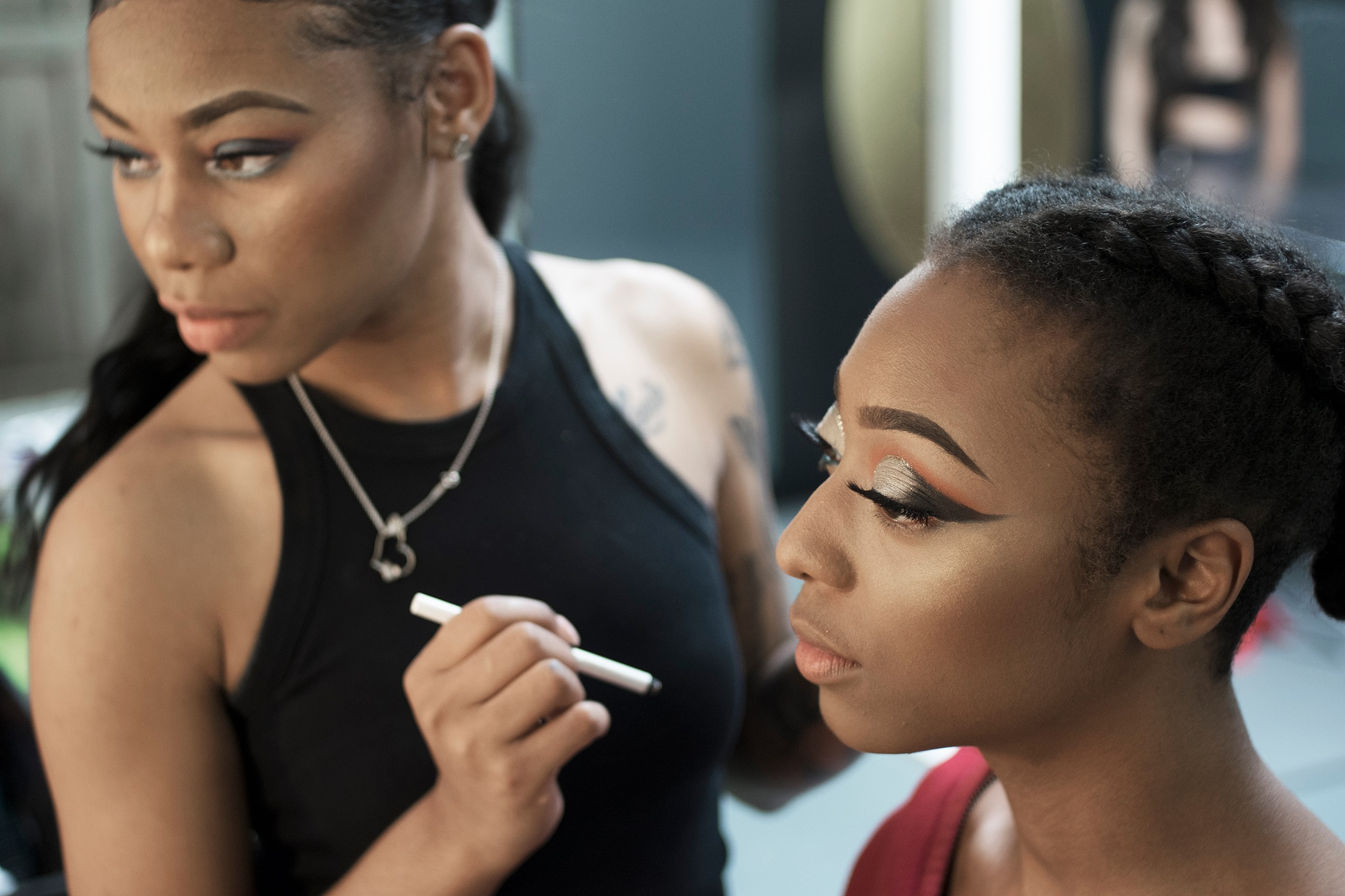 @mua.lay have a moment on set as  @ohsepi begins her Cleopatra look.