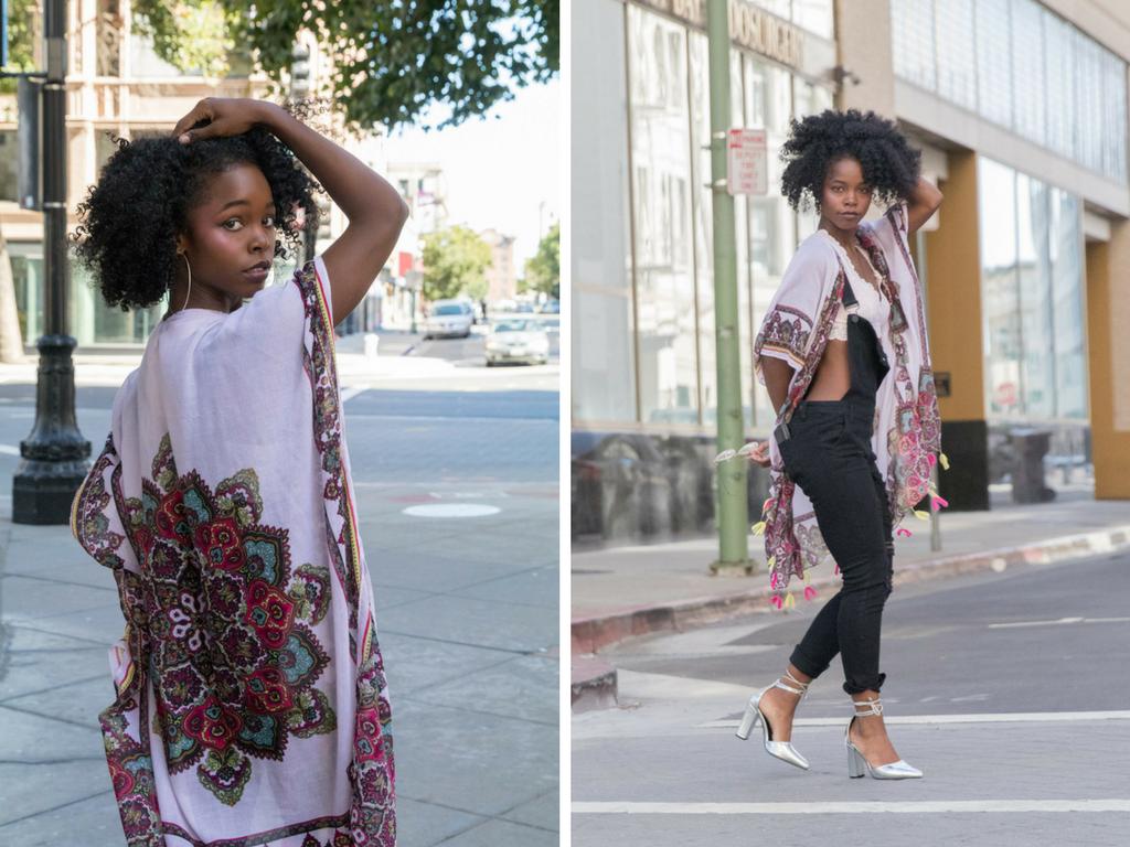 Clothing:Black overalls- Doll House,Printed kimono robe-Woven Heart,Pink Bralette -Rene Rofe