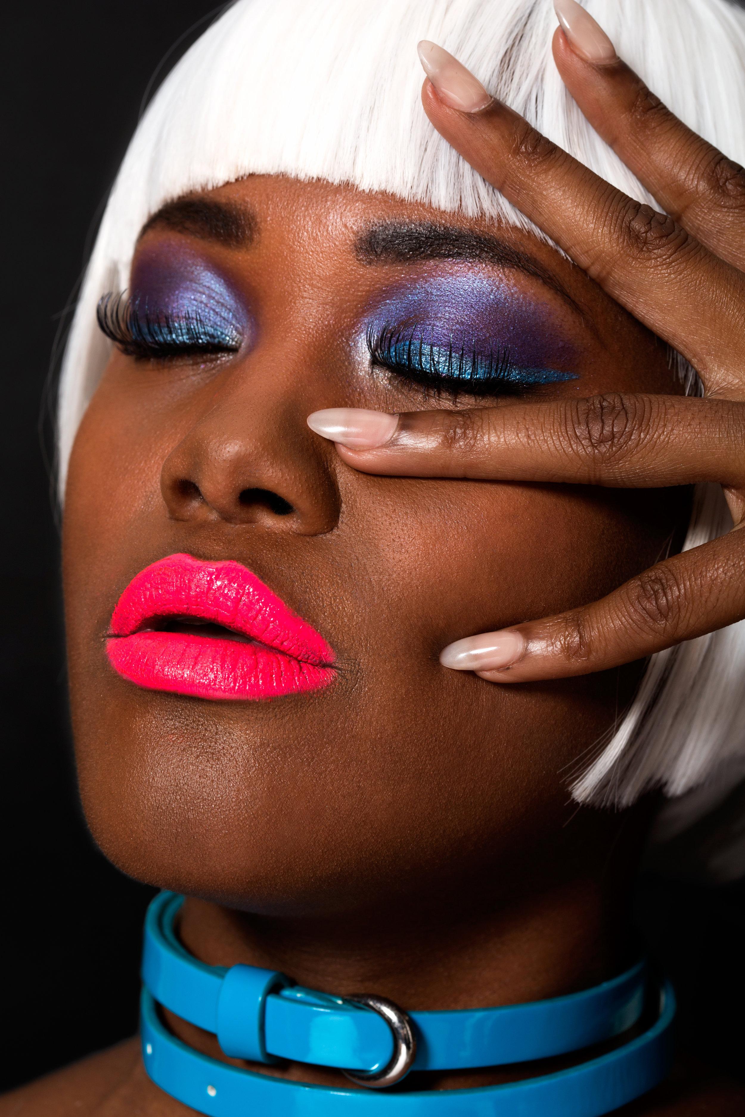 neon makeup look for brown skin