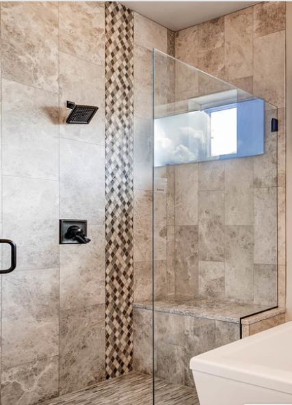 T&B Tile - Deco Tile bench shower with EuroGlass - We have worked with (Nested) over the past few years and (their) professionalism and eye for design is impeccable. Not only deep care about (their) work but deep care about clients as well. I highly recommend the company.