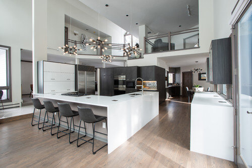 Lyons - Contemporary kitchen waterfall counter-tops - Nested is one of the best construction services in the Denver Metro area. As a kitchen designer I rely on my contractors to help a project go smoothly, with Nested I never have to worry. The crew is professional and easy to work with.