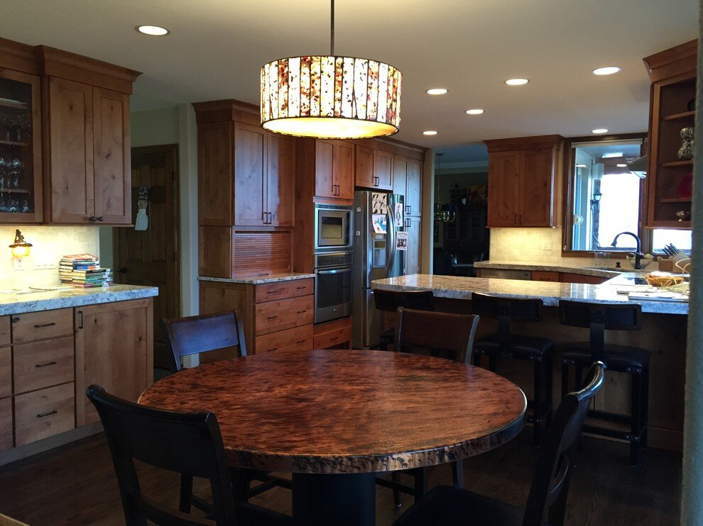 Elliott - Natural stained wood cabinet kitchen - [Nested] redid my kitchen and I love it every time I cook, let me choose many things but also guided me when I needed it, suggested ways I could save money. I would recommend [Rebecca] and her team for any project!