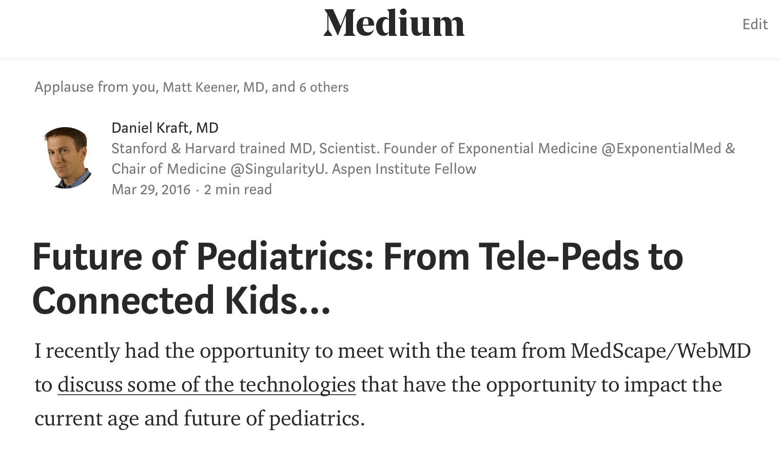 Future of Pediatrics