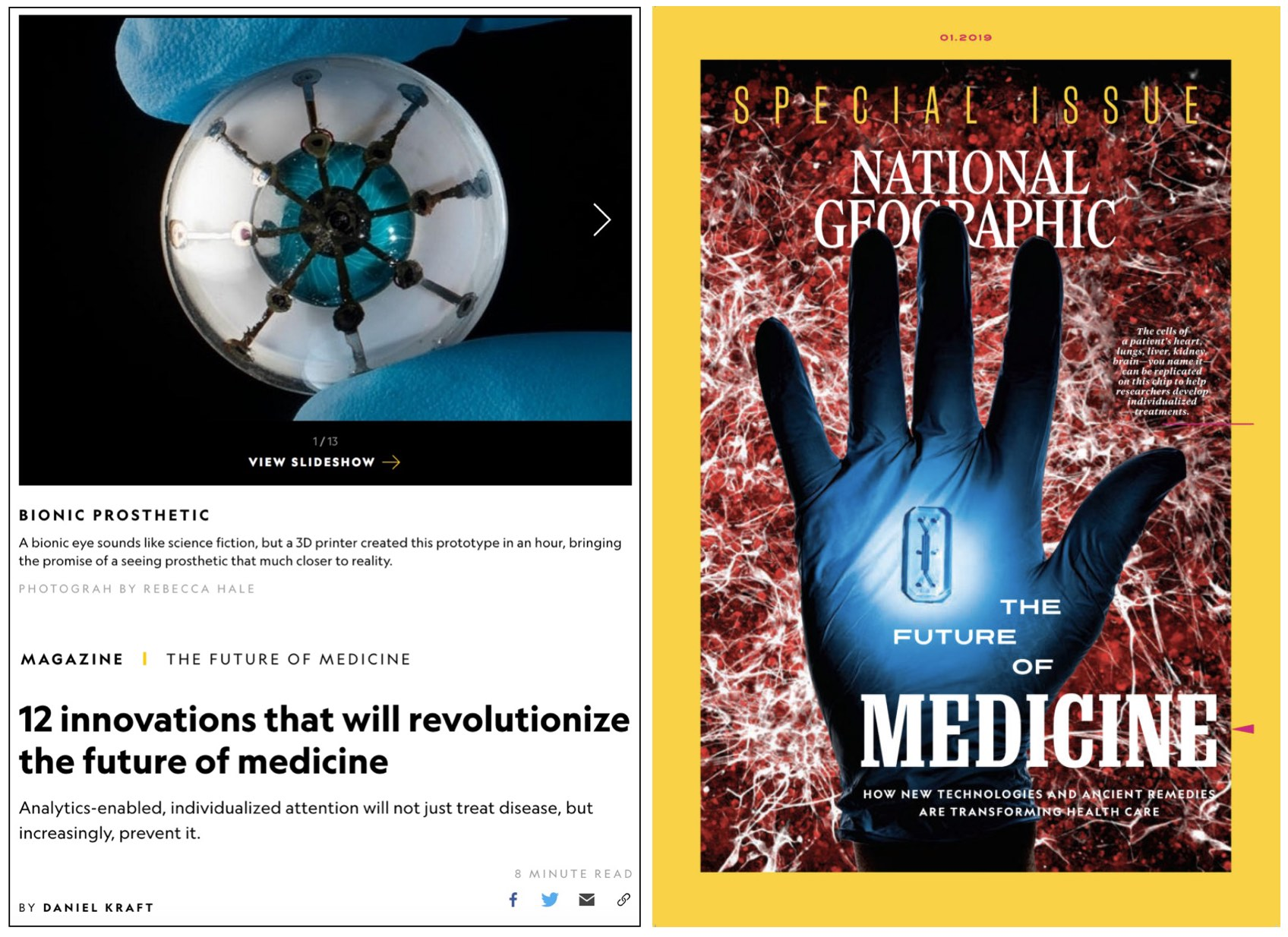 Daniel wrote the  opening article  for the National Geographic Magazine's special issue  'The Future of Medicine' .