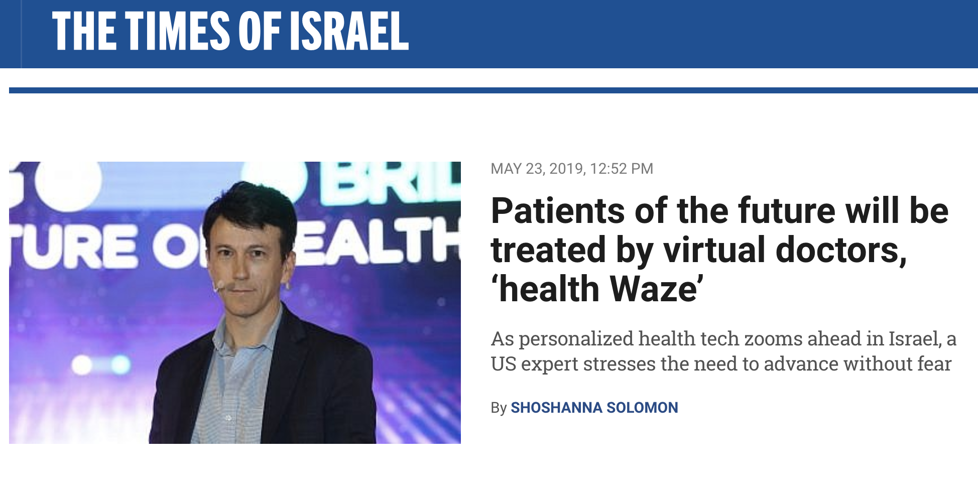 Daniel Kraft - Times of Israel- Waze for Healthcare