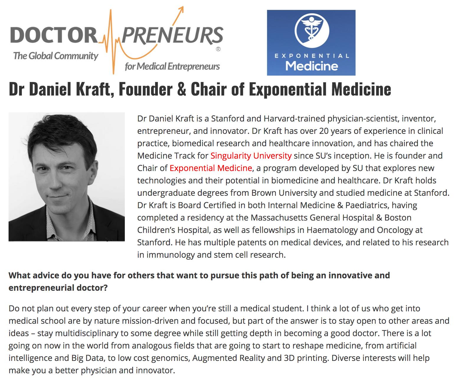 Doctorpreneurs: Daniel Kraft on Innovation and Exponential Medicine
