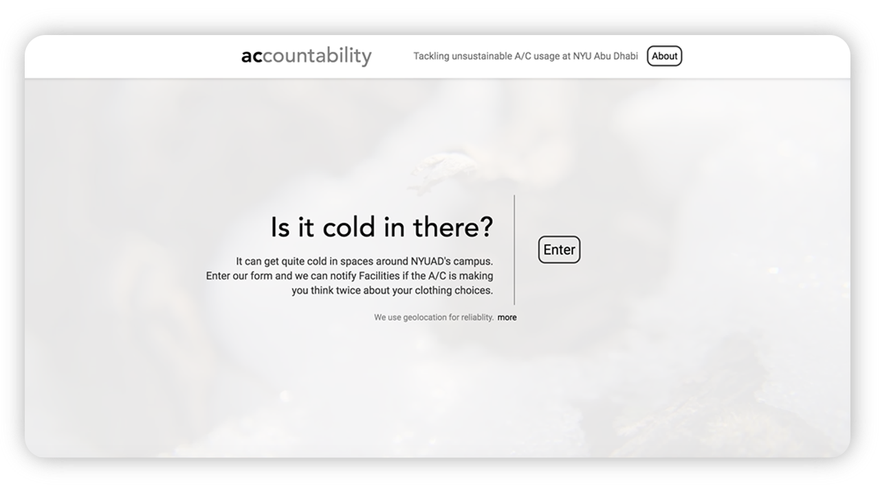 The landing page frames the goal of the project and invites the users to submit A/C temperature reports.