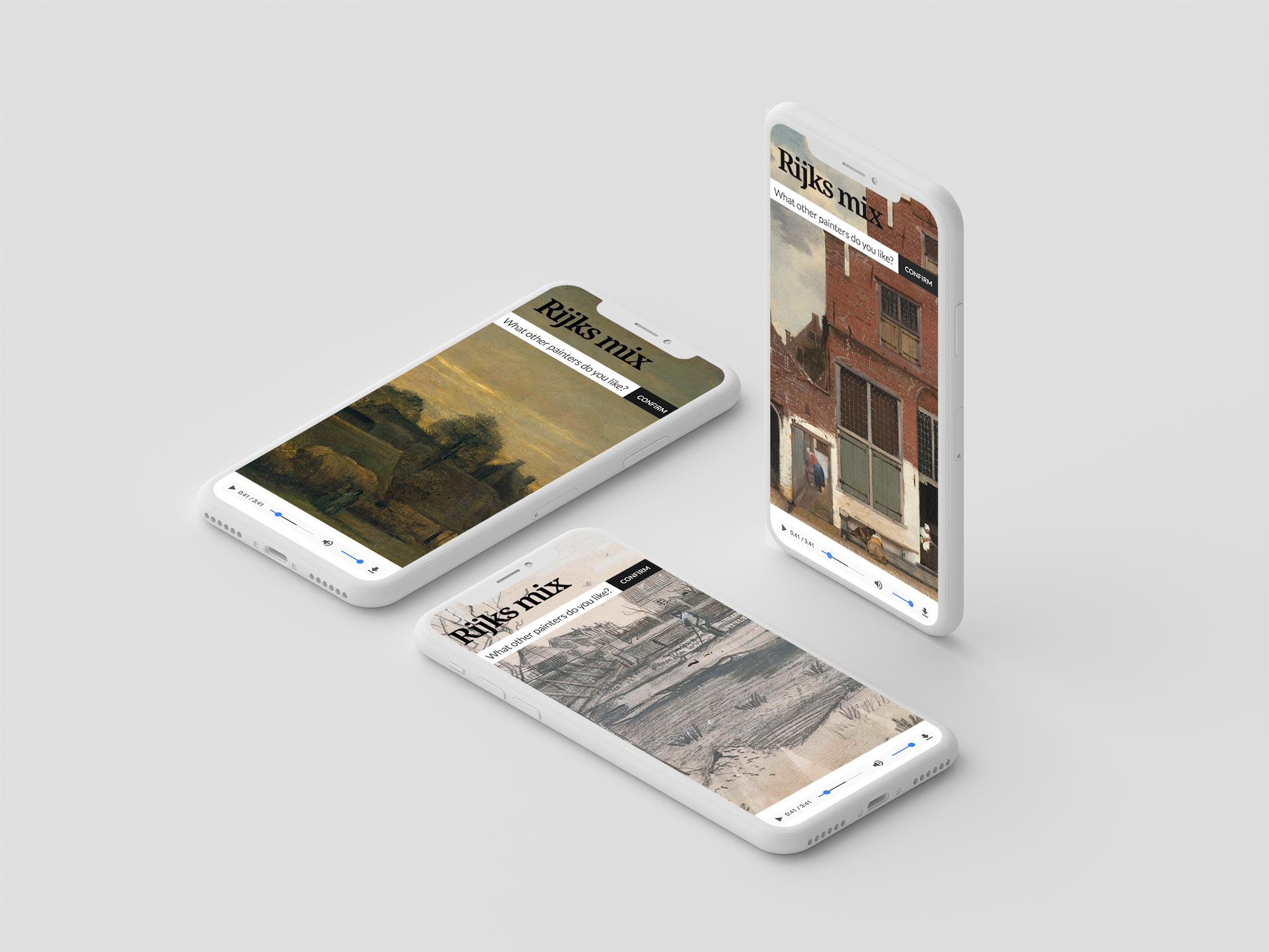 The visual identity of Rijksmix is driven by the diversity of artwork exhibited in the Rijksmuseum, Amsterdam. Artwork images are accessed through the museum's API.