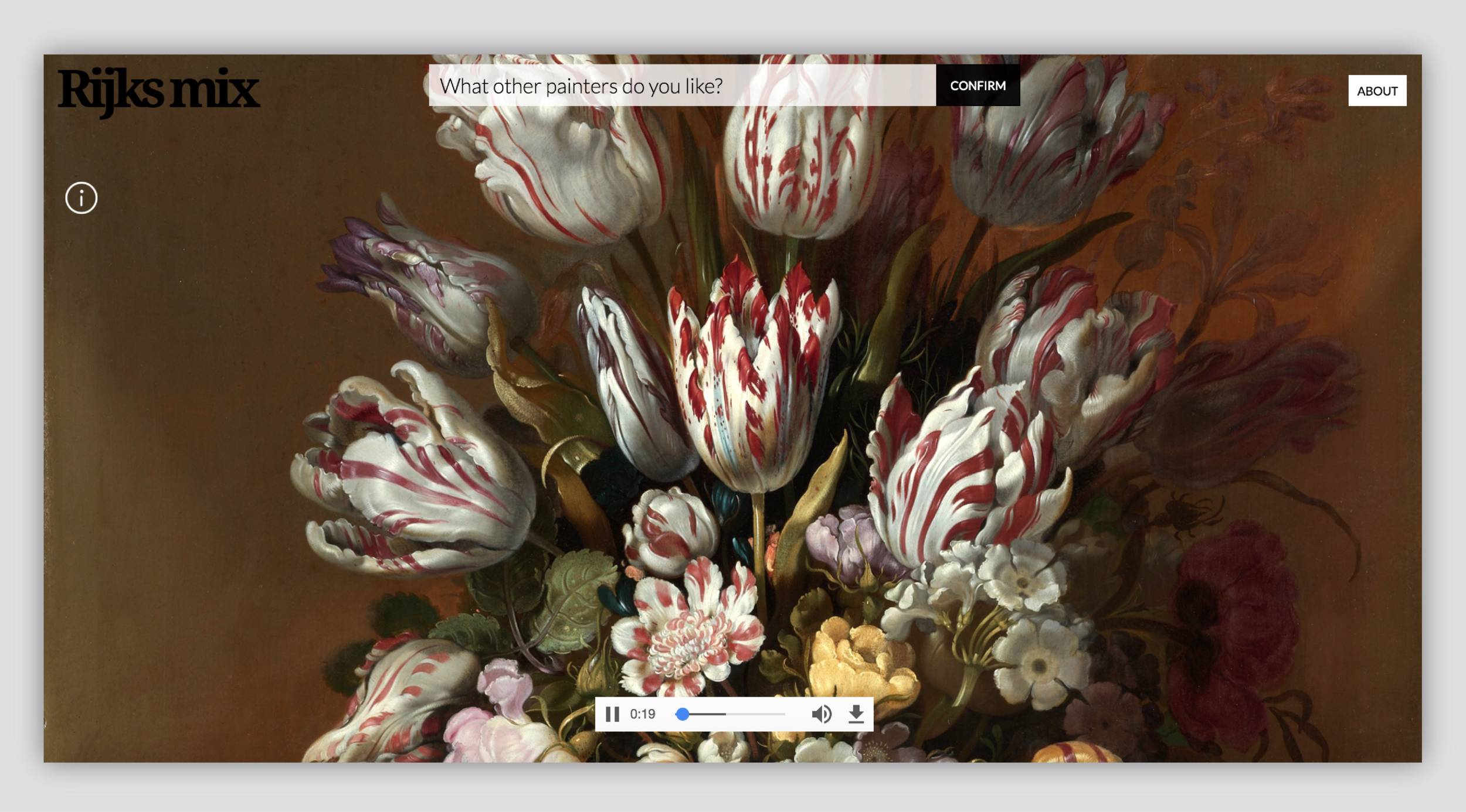Upon a successful query, a full-screen image of a painting displayed in Rijksmuseum is matched with a song from Soundcloud. The search bar moves to the top so as not to detract attention from the artwork.