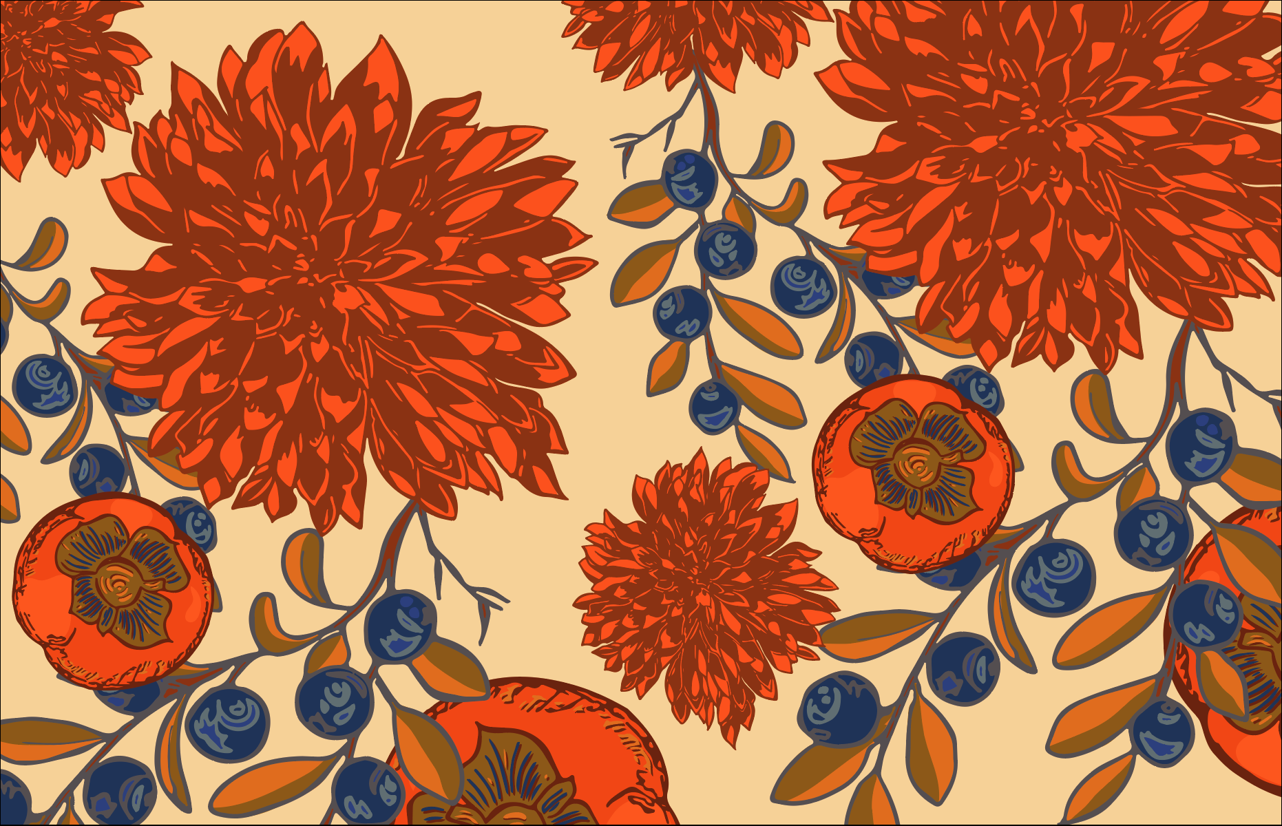 Illustration and pattern, closeup – Pen + ink, colored digitally