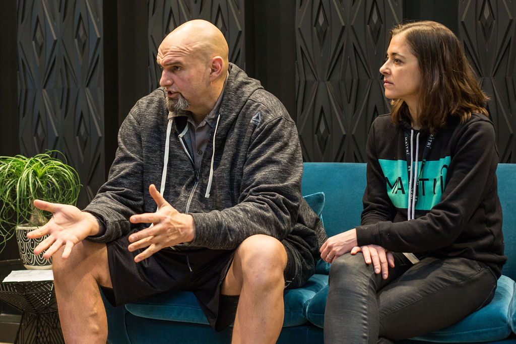 Lieutenant Governor John Fetterman and Maitri Medicinals CEO Corinne Ogrodnik at Maitri's Pittsburgh dispensary. Photo by Matt Dayak.
