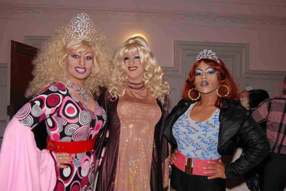 Trannyshack 2008, The Legendary Cookie Dough (center) with Pollo del Mar (left), and Anjie Myma.