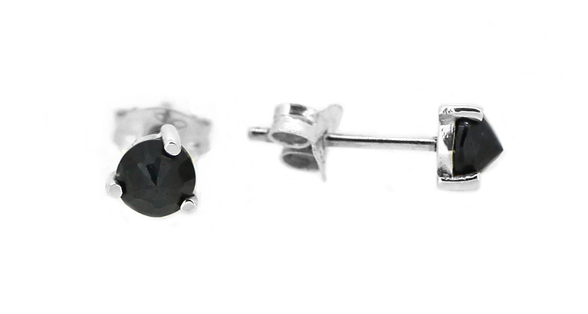 Midnight Collection Silver Sapphire Stud Earrings close up.jpg