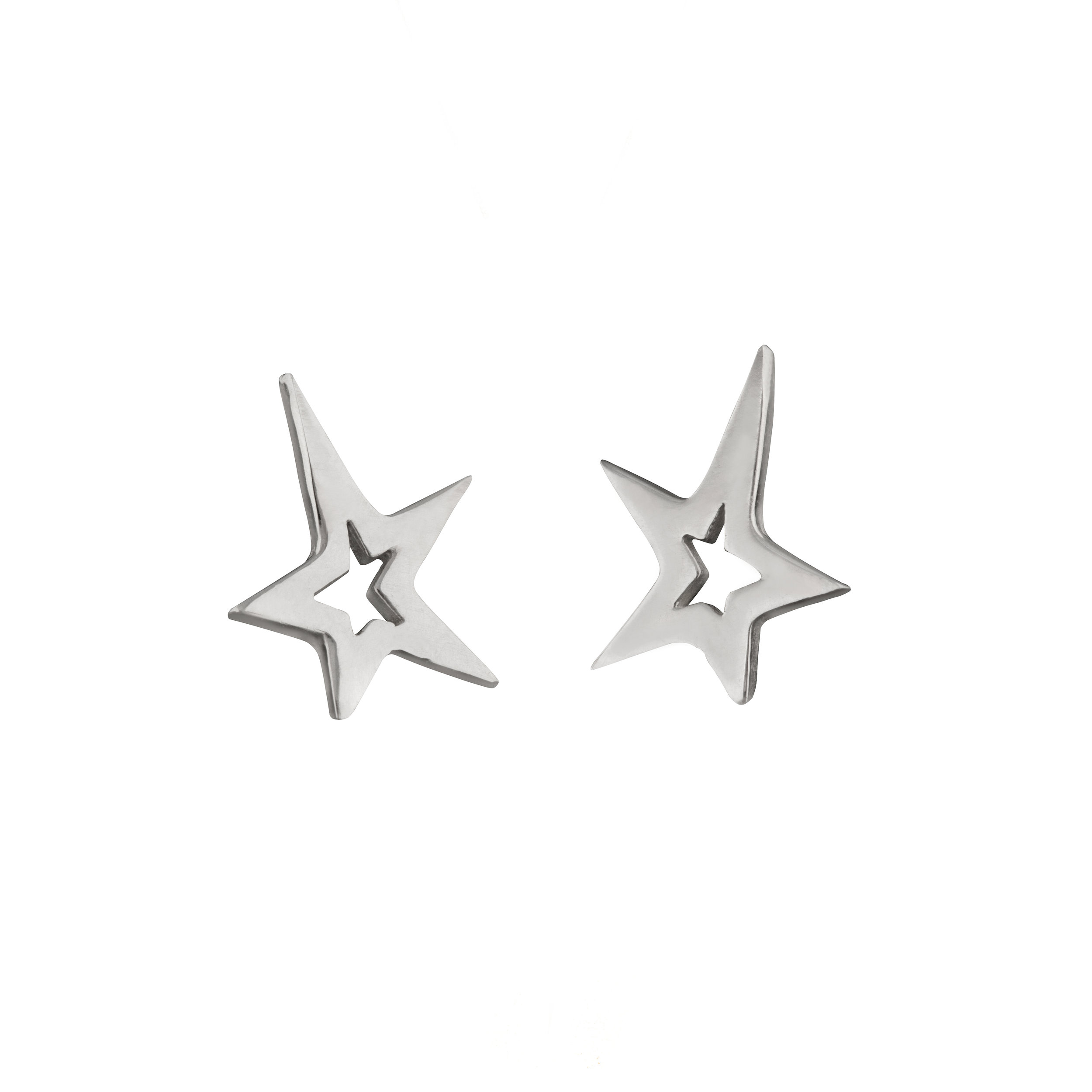 Sterling Silver Star Studded Earrings