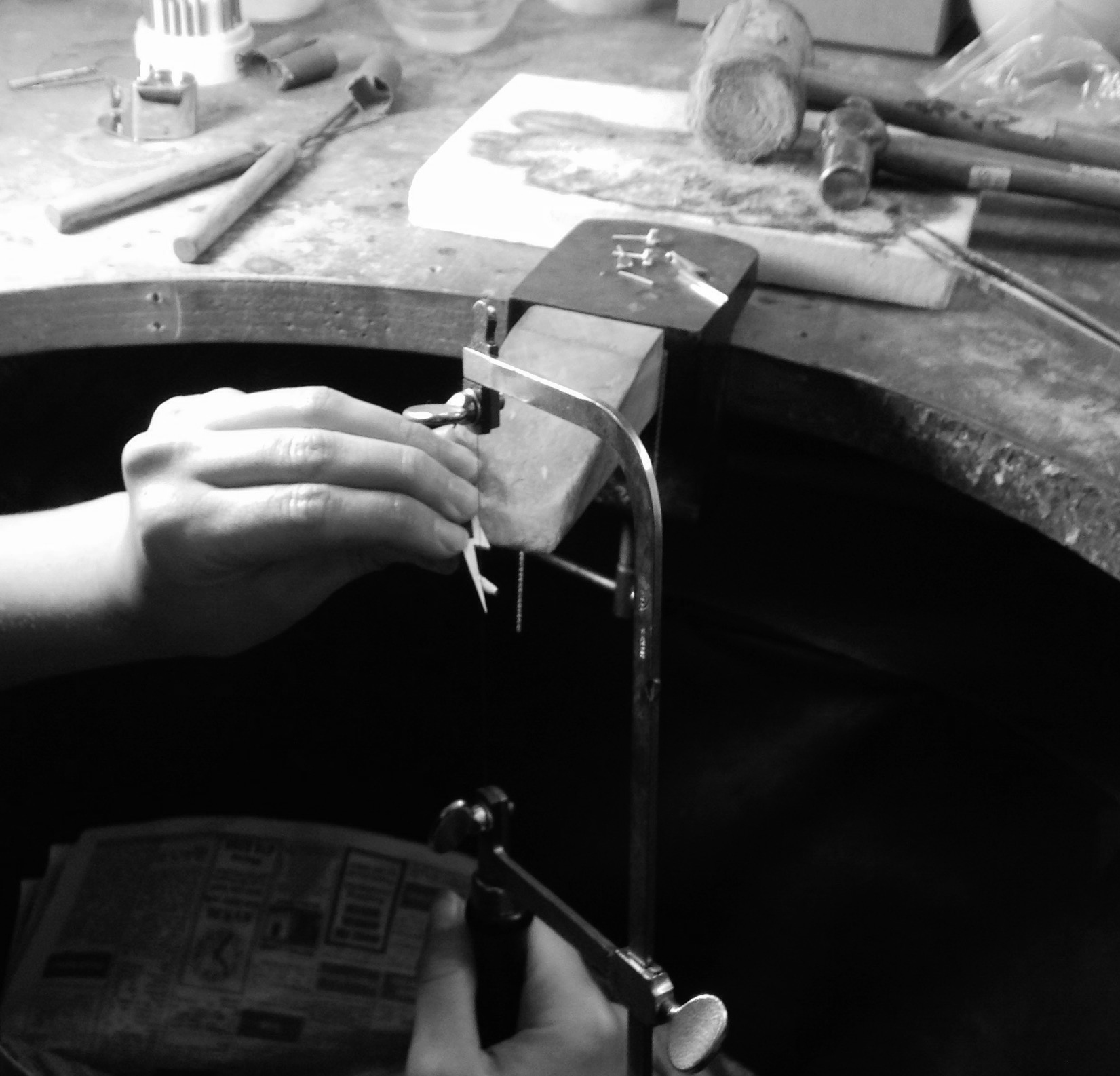 Stella by TORY & KO. Lightning Bolt Earrings being created at the workbench.