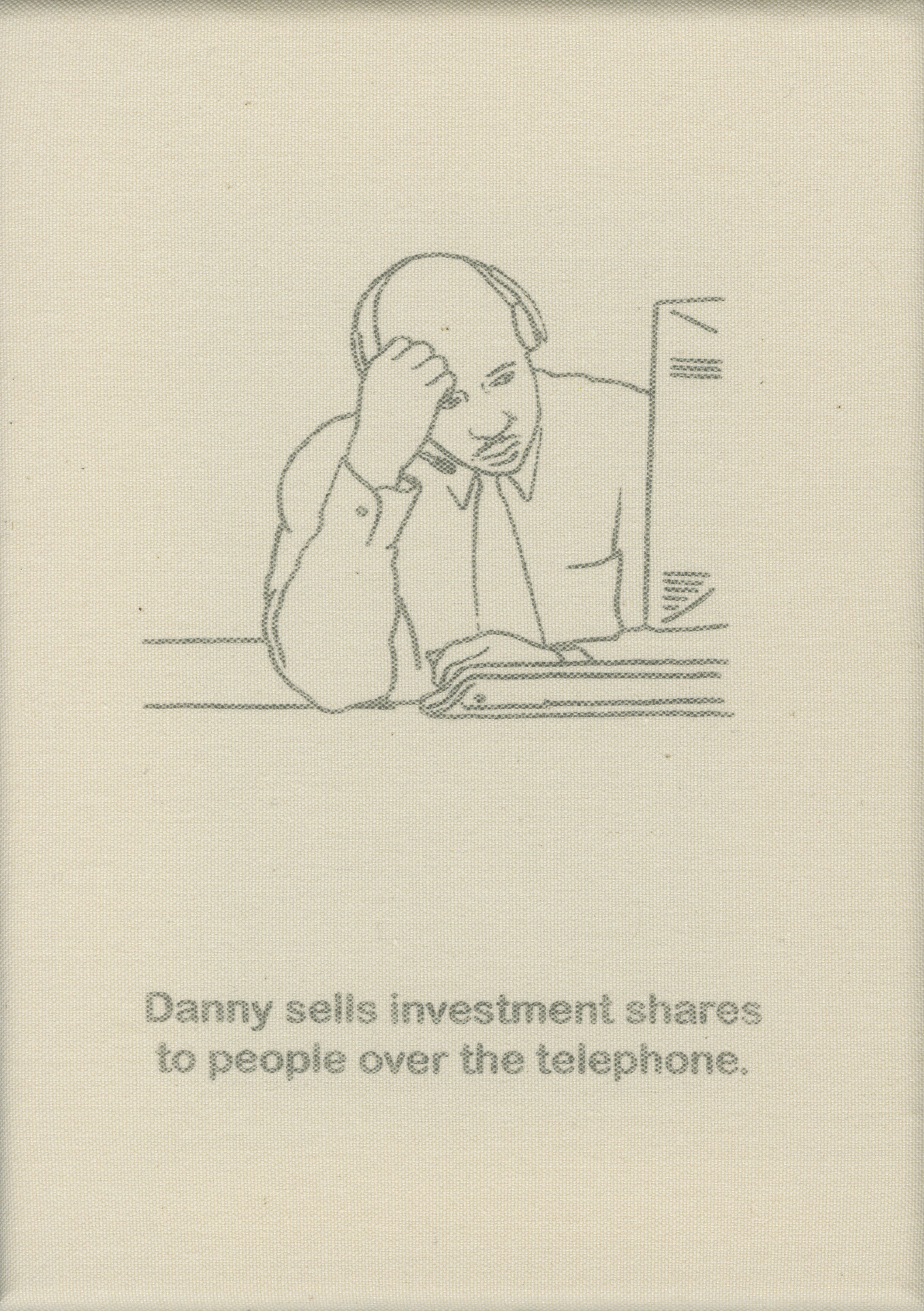 Danny sells investment shares over the phone.